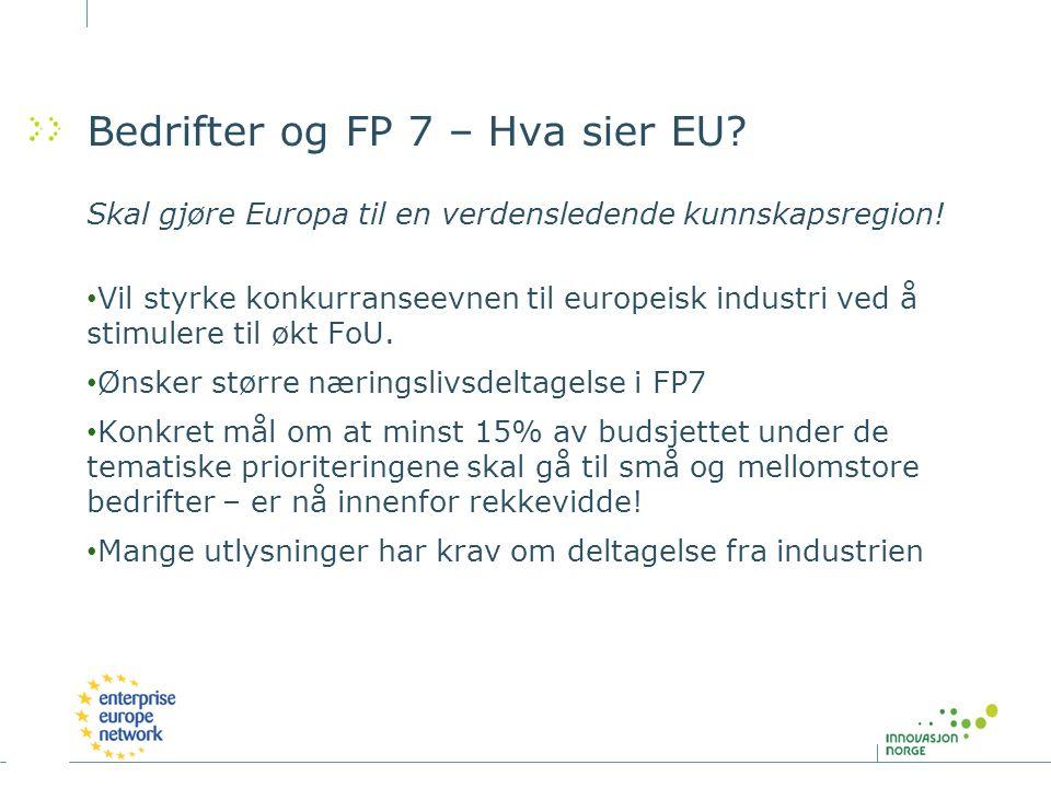 Bedrifter og FP 7 – Hva sier EU? Skal gjøre Europa til en verdensledende kunnskapsregion! Vil styrke konkurranseevnen til europeisk industri ved å sti