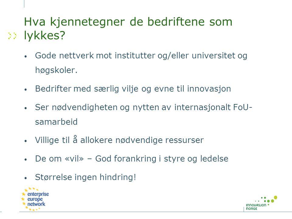 Norsk deltagelse i Energy 30 norske bedriftsdeltagelser i innstilte prosjekter Ingen norske bedrifter har koordinatorrolle De tre mest aktive bedriftene (Statoil, Hydro og DnV) står for 42 % av deltagelsene og 36 % av støtten 13 av bedriftsdeltagelsene er fra SMB