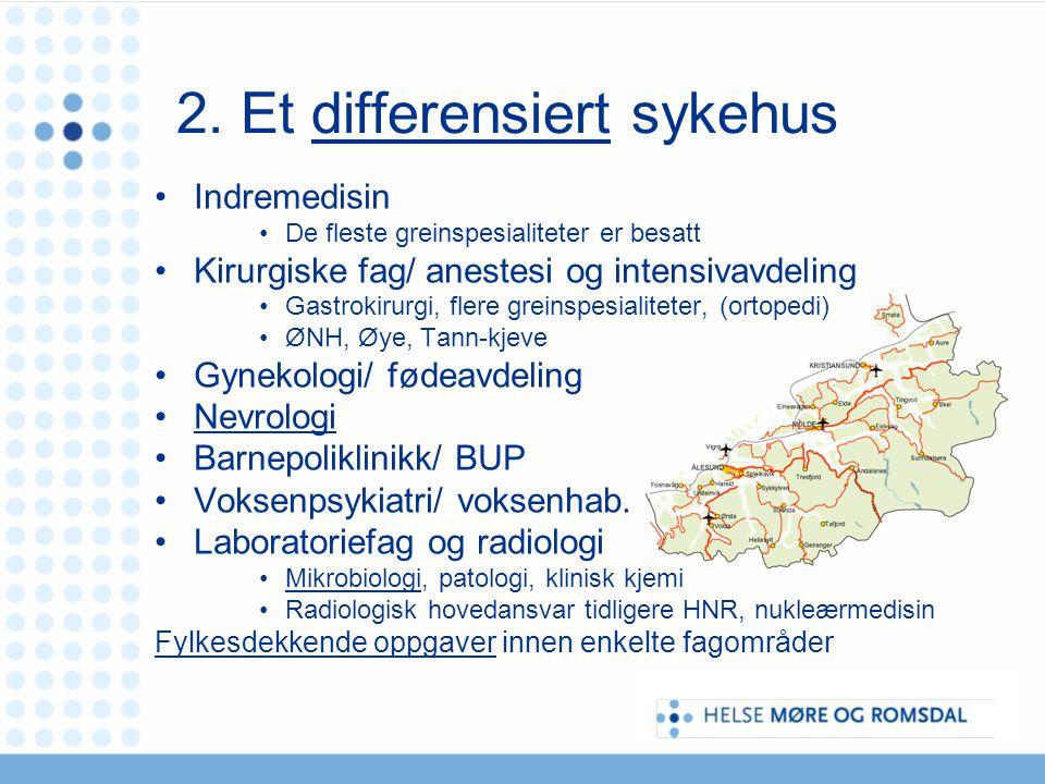 2. Et differensiert sykehus Indremedisin De fleste greinspesialiteter er besatt Kirurgiske fag/ anestesi og intensivavdeling Gastrokirurgi, flere grei