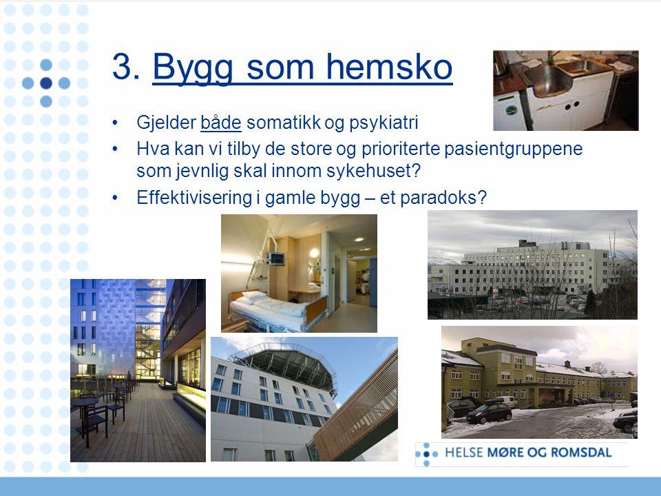3. Bygg som hemsko Gjelder både somatikk og psykiatri Hva kan vi tilby de store og prioriterte pasientgruppene som jevnlig skal innom sykehuset? Effek