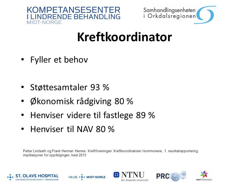 Kreftkoordinator Fyller et behov Støttesamtaler 93 % Økonomisk rådgiving 80 % Henviser videre til fastlege 89 % Henviser til NAV 80 % Petter Lindseth