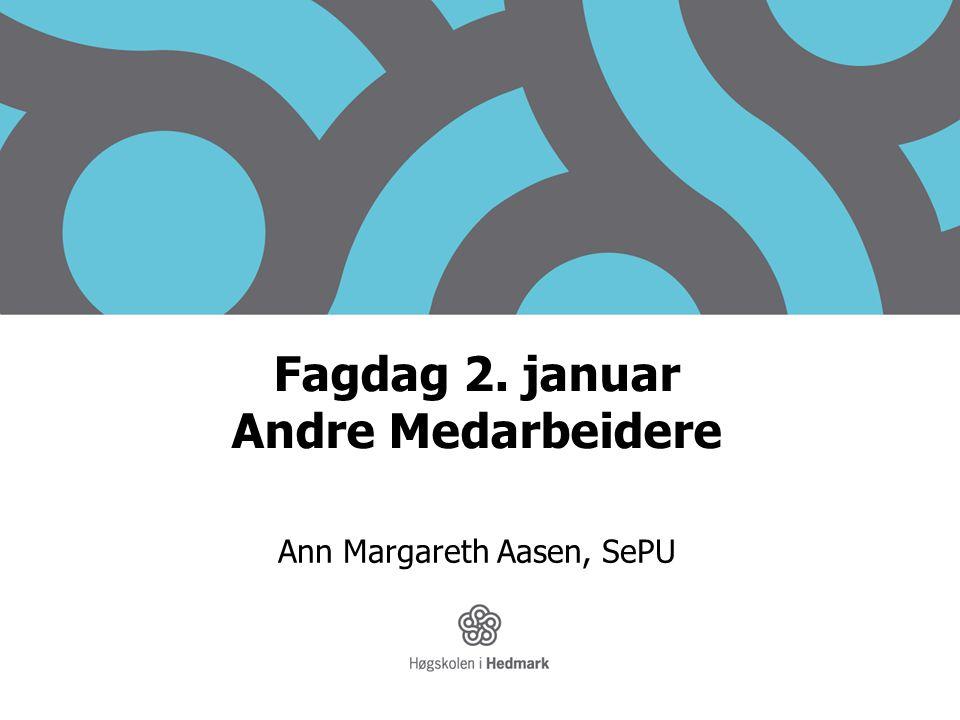 Fagdag 2. januar Andre Medarbeidere Ann Margareth Aasen, SePU