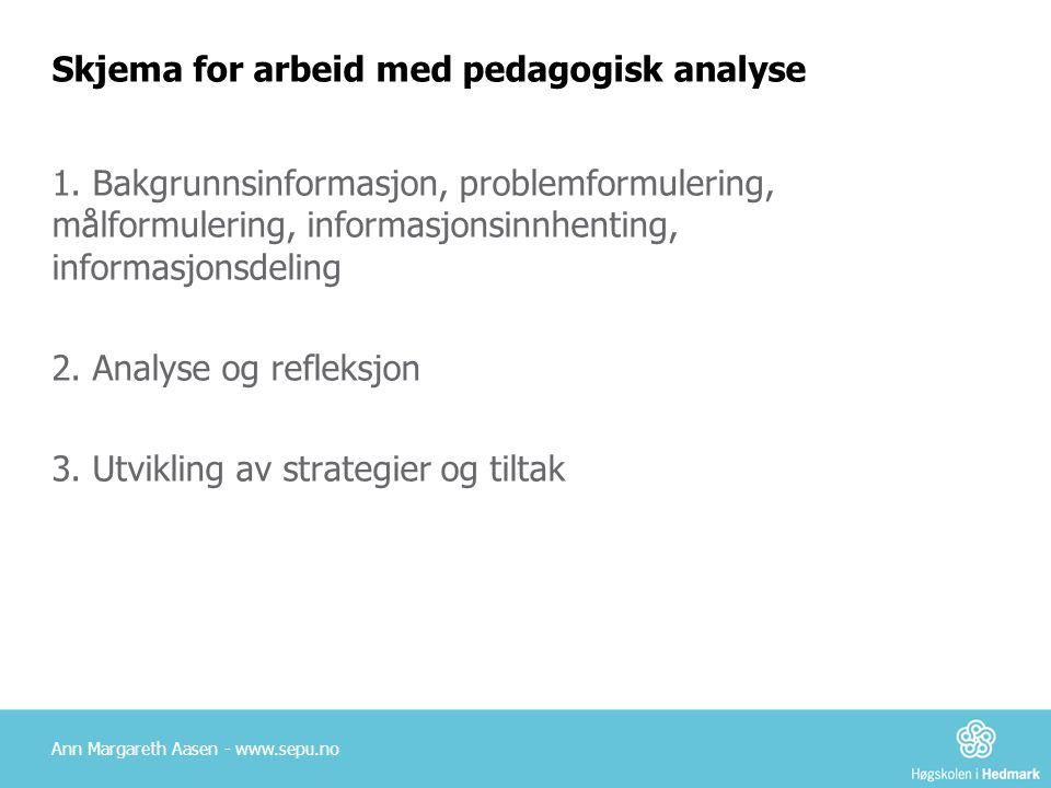 Skjema for arbeid med pedagogisk analyse 1.