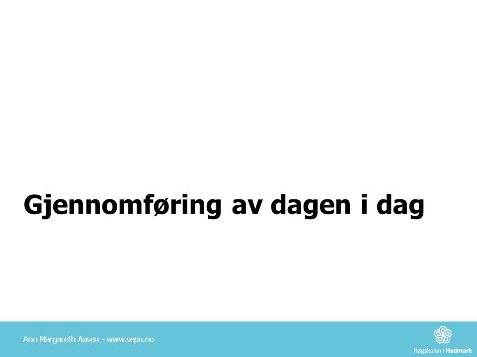 Gjennomføring av dagen i dag Ann Margareth Aasen - www.sepu.no