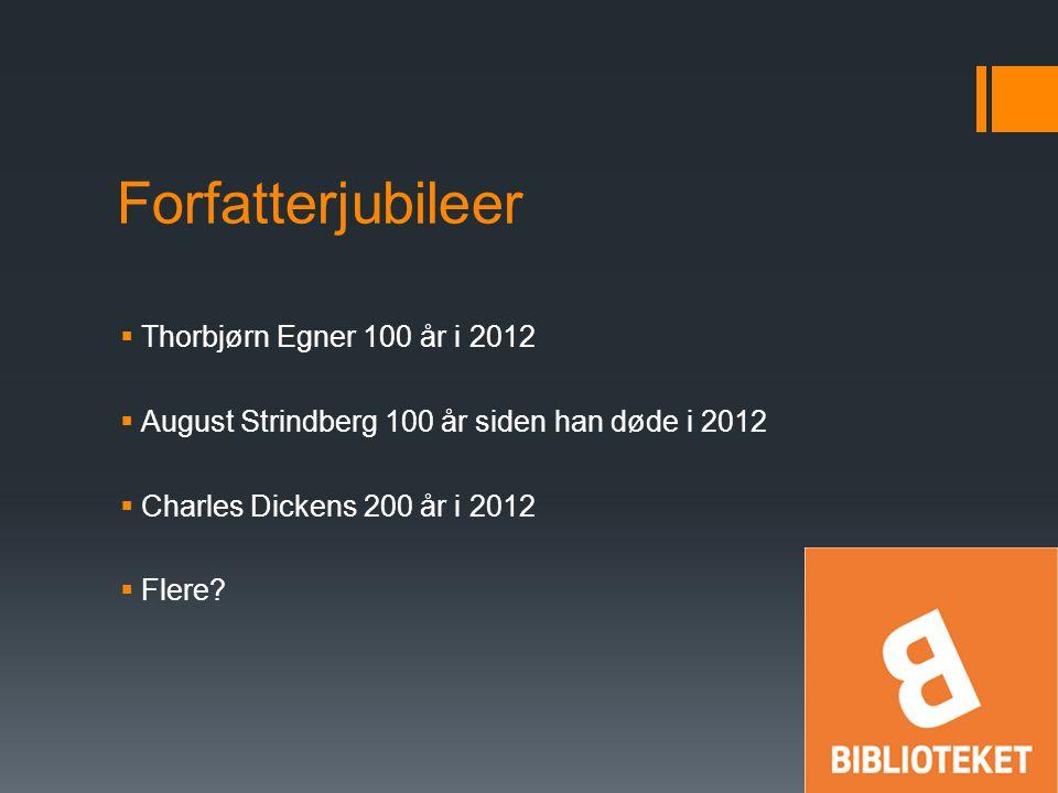 Forfatterjubileer  Thorbjørn Egner 100 år i 2012  August Strindberg 100 år siden han døde i 2012  Charles Dickens 200 år i 2012  Flere