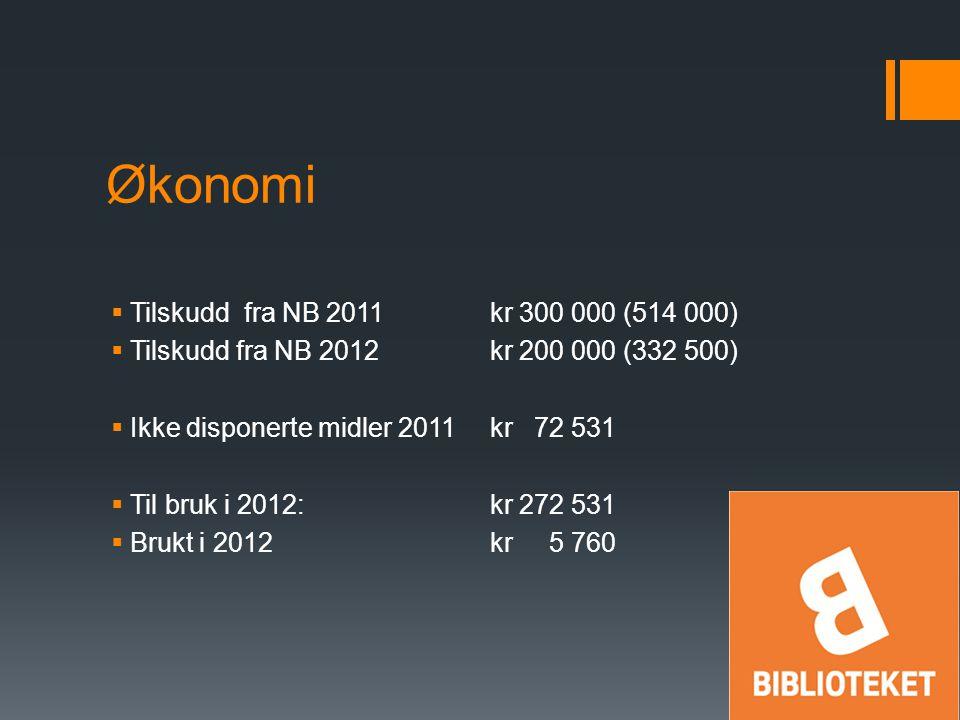 Økonomi  Tilskudd fra NB 2011kr 300 000 (514 000)  Tilskudd fra NB 2012kr 200 000 (332 500)  Ikke disponerte midler 2011kr 72 531  Til bruk i 2012:kr 272 531  Brukt i 2012kr 5 760