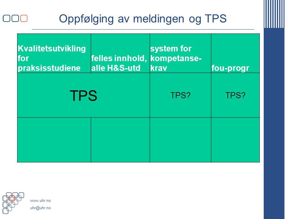 www.uhr.no uhr@uhr.no Oppfølging av meldingen og TPS Kvalitetsutvikling for praksisstudiene felles innhold, alle H&S-utd system for kompetanse- kravfo