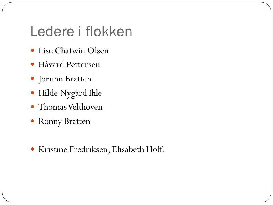 Ledere i flokken Lise Chatwin Olsen Håvard Pettersen Jorunn Bratten Hilde Nygård Ihle Thomas Velthoven Ronny Bratten Kristine Fredriksen, Elisabeth Ho