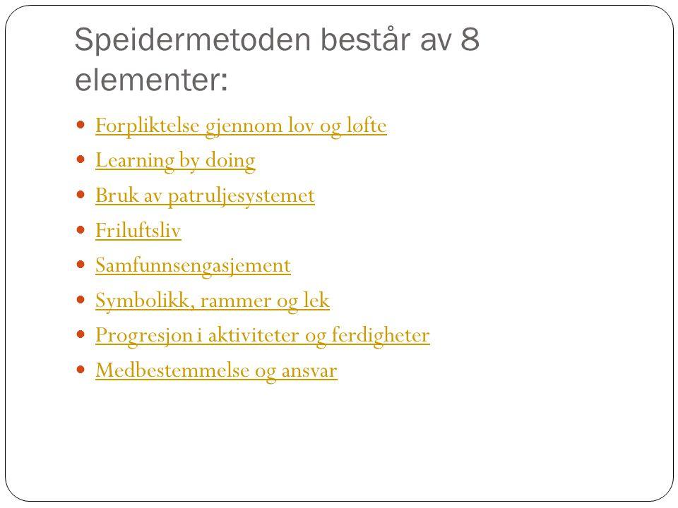 Speidermetoden består av 8 elementer: Forpliktelse gjennom lov og løfte Learning by doing Bruk av patruljesystemet Friluftsliv Samfunnsengasjement Sym