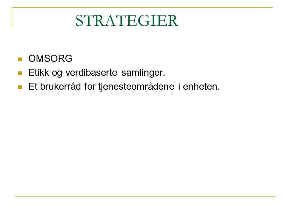 STRATEGIER OMSORG Etikk og verdibaserte samlinger. Et brukerråd for tjenesteområdene i enheten.