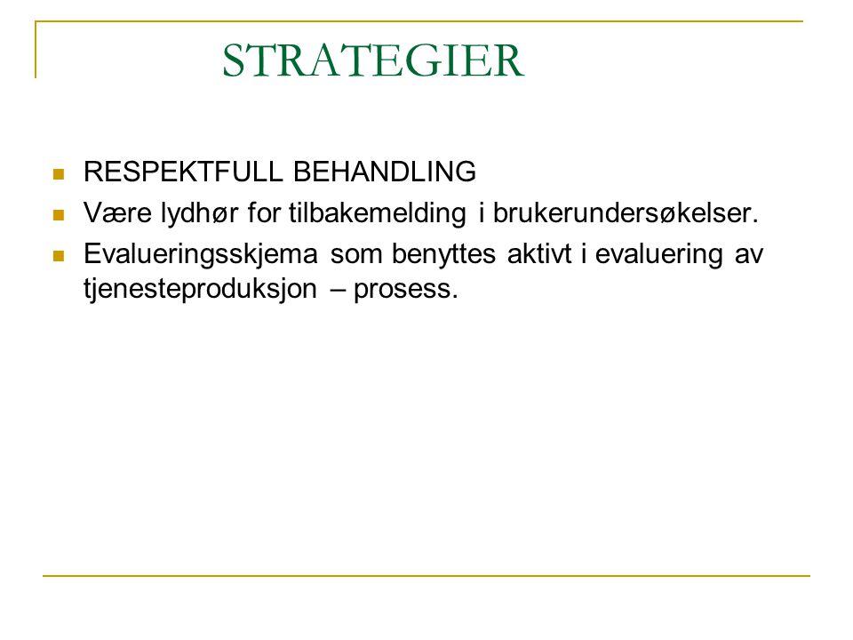 STRATEGIER RESPEKTFULL BEHANDLING Være lydhør for tilbakemelding i brukerundersøkelser.
