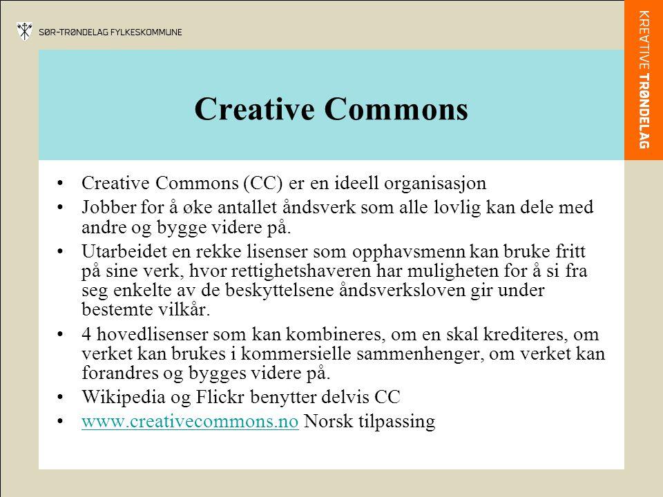Creative Commons Creative Commons (CC) er en ideell organisasjon Jobber for å øke antallet åndsverk som alle lovlig kan dele med andre og bygge videre på.