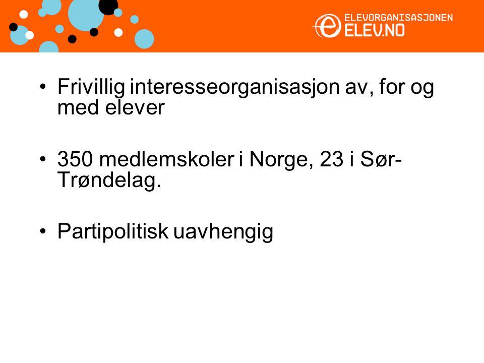 Frivillig interesseorganisasjon av, for og med elever 350 medlemskoler i Norge, 23 i Sør- Trøndelag. Partipolitisk uavhengig