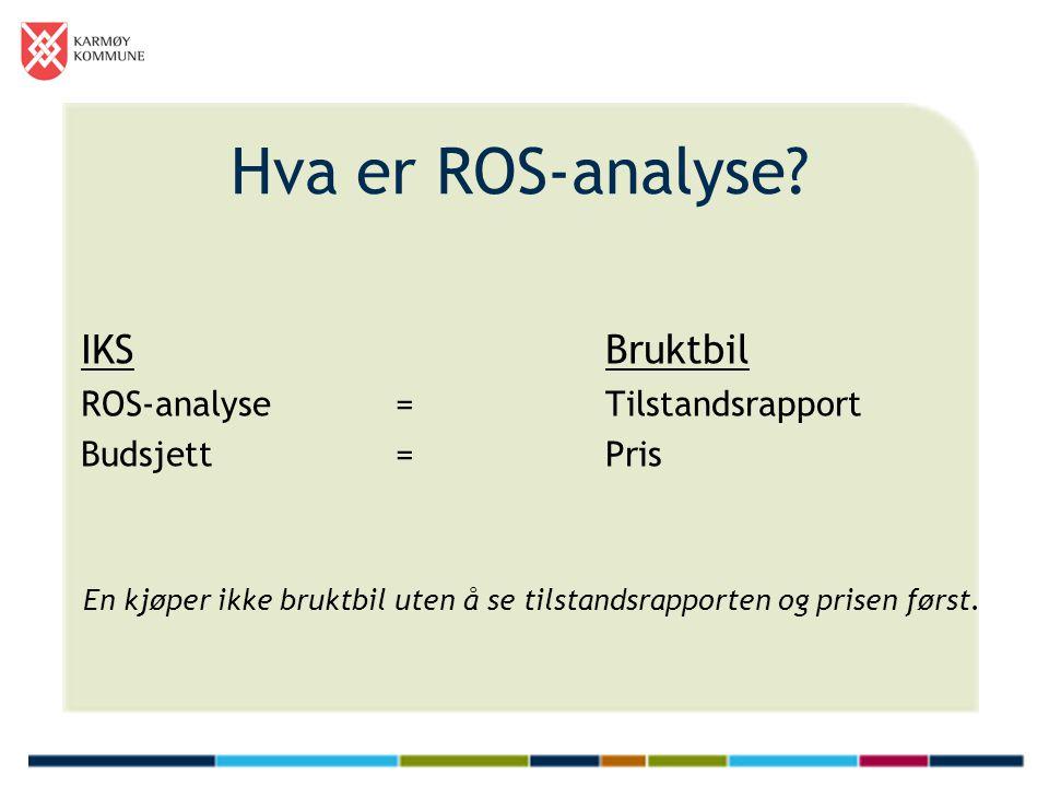 Hva er ROS-analyse? IKS Bruktbil ROS-analyse=Tilstandsrapport Budsjett=Pris En kjøper ikke bruktbil uten å se tilstandsrapporten og prisen først.