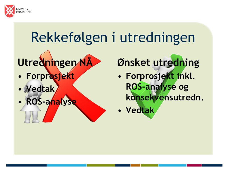 Rekkefølgen i utredningen Utredningen NÅ Forprosjekt Vedtak ROS-analyse Ønsket utredning Forprosjekt inkl. ROS-analyse og konsekvensutredn. Vedtak