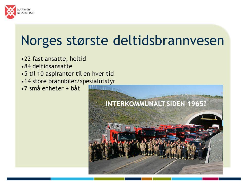 Norges største deltidsbrannvesen 22 fast ansatte, heltid 84 deltidsansatte 5 til 10 aspiranter til en hver tid 14 store brannbiler/spesialutstyr 7 små