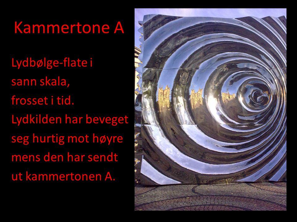 Kammertone A Lydbølge-flate i sann skala, frosset i tid. Lydkilden har beveget seg hurtig mot høyre mens den har sendt ut kammertonen A.