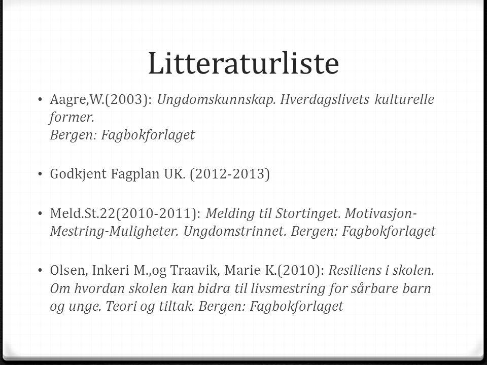 Litteraturliste Aagre,W.(2003): Ungdomskunnskap. Hverdagslivets kulturelle former. Bergen: Fagbokforlaget Godkjent Fagplan UK. (2012-2013) Meld.St.22(