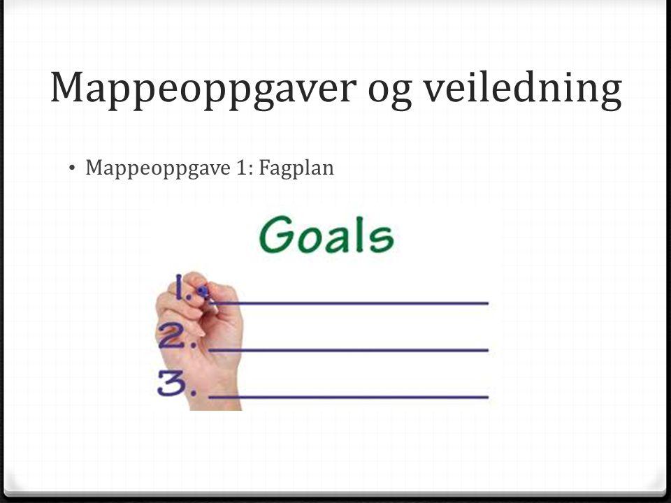 Mappeoppgaver og veiledning Mappeoppgave 1: Fagplan