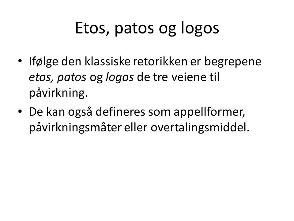 Etos, patos og logos Ifølge den klassiske retorikken er begrepene etos, patos og logos de tre veiene til påvirkning. De kan også defineres som appellf