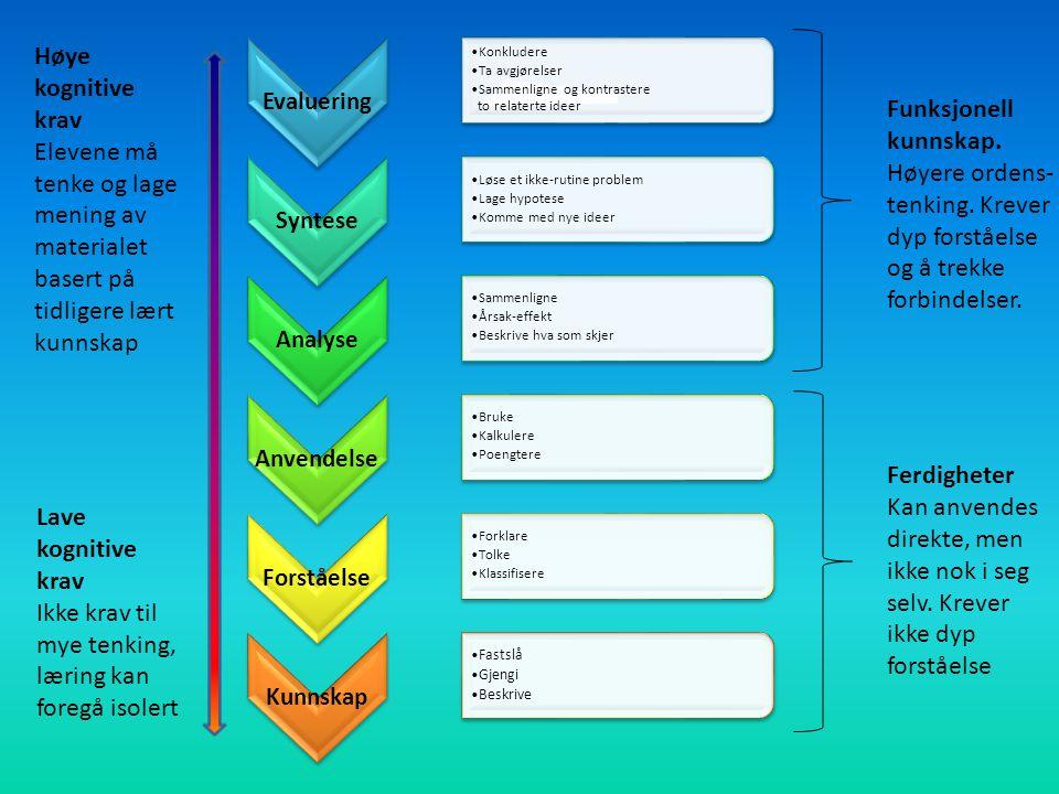 Evaluering Konkludere Ta avgjørelser Sammenligne og kontrastere to relaterte ideer Syntese Løse et ikke-rutine problem Lage hypotese Komme med nye ideer Analyse Sammenligne Årsak-effekt Beskrive hva som skjer Anvendelse Bruke Kalkulere Poengtere Forståelse Forklare Tolke Klassifisere Kunnskap Fastslå Gjengi Beskrive Ferdigheter Kan anvendes direkte, men ikke nok i seg selv.