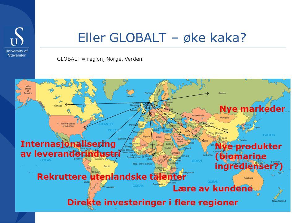 Eller GLOBALT – øke kaka? GLOBALT = region, Norge, Verden Nye markeder Nye produkter (biomarine ingredienser?) Internasjonalisering av leverandørindus