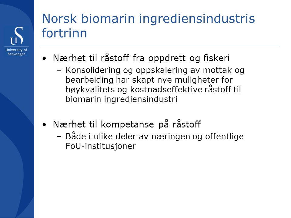 Norsk biomarin ingrediensindustris fortrinn Nærhet til råstoff fra oppdrett og fiskeri –Konsolidering og oppskalering av mottak og bearbeiding har ska