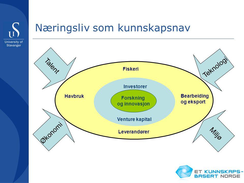 Næringsliv som kunnskapsnav Talent Økonomi Miljø Teknologi Fiskeri Leverandører Havbruk Bearbeiding og eksport Investorer Venture kapital Forskning og
