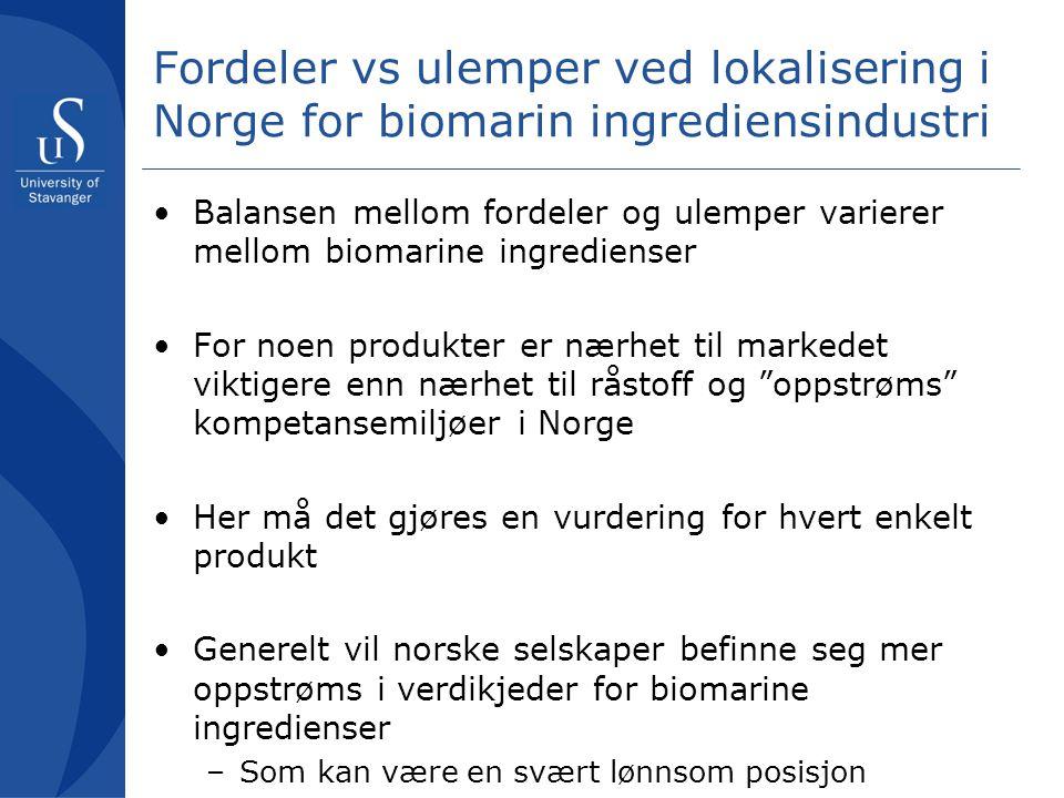 Fordeler vs ulemper ved lokalisering i Norge for biomarin ingrediensindustri Balansen mellom fordeler og ulemper varierer mellom biomarine ingrediense