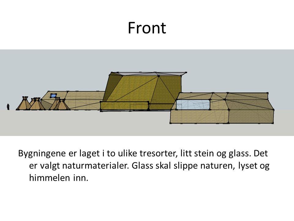 Front Bygningene er laget i to ulike tresorter, litt stein og glass. Det er valgt naturmaterialer. Glass skal slippe naturen, lyset og himmelen inn.