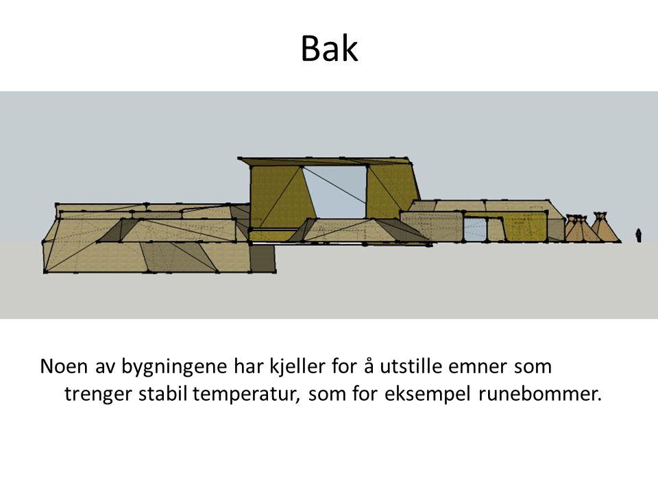 Bak Noen av bygningene har kjeller for å utstille emner som trenger stabil temperatur, som for eksempel runebommer.