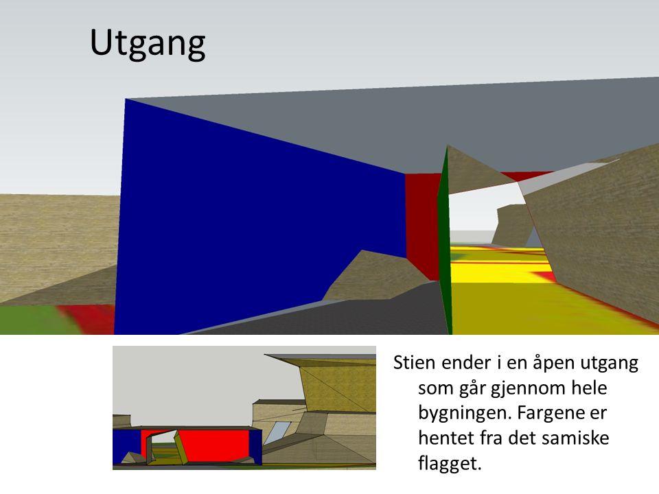 Utgang Stien ender i en åpen utgang som går gjennom hele bygningen. Fargene er hentet fra det samiske flagget.