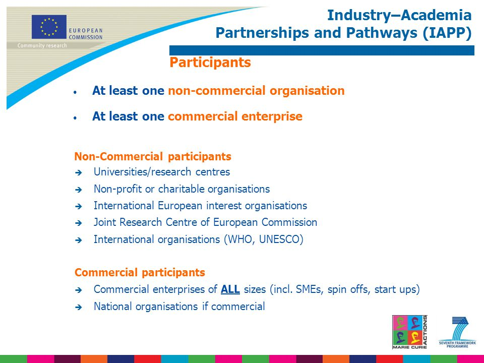 Industry–Academia Partnerships and Pathways (IAPP) Participants At least one non-commercial organisation At least one commercial enterprise Non-Commer