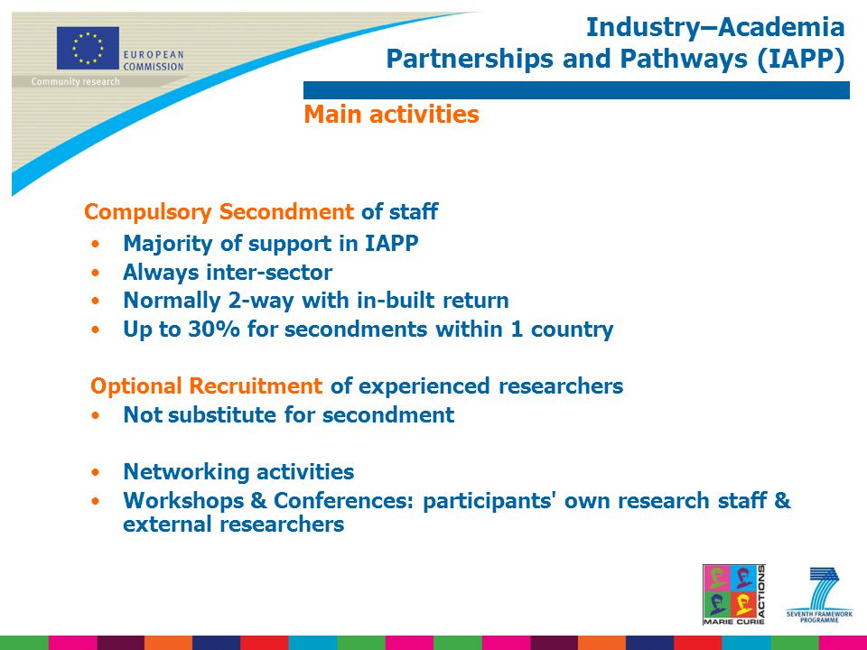 Industry–Academia Partnerships and Pathways (IAPP) Compulsory Secondment of staff Majority of support in IAPP Always inter-sector Normally 2-way with