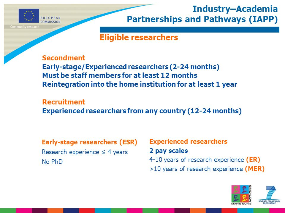 Industry–Academia Partnerships and Pathways (IAPP) Eligible researchers Secondment Early-stage/Experienced researchers (2-24 months) Must be staff mem