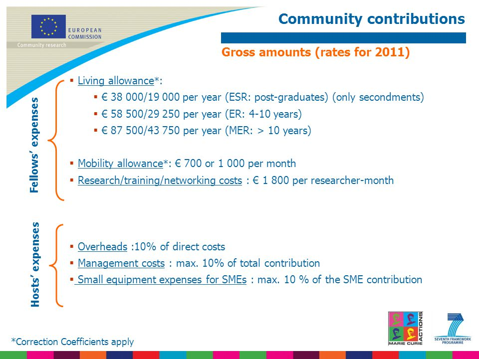 Community contributions  Living allowance * :  € 38 000/19 000 per year (ESR: post-graduates) (only secondments)  € 58 500/29 250 per year (ER: 4-1