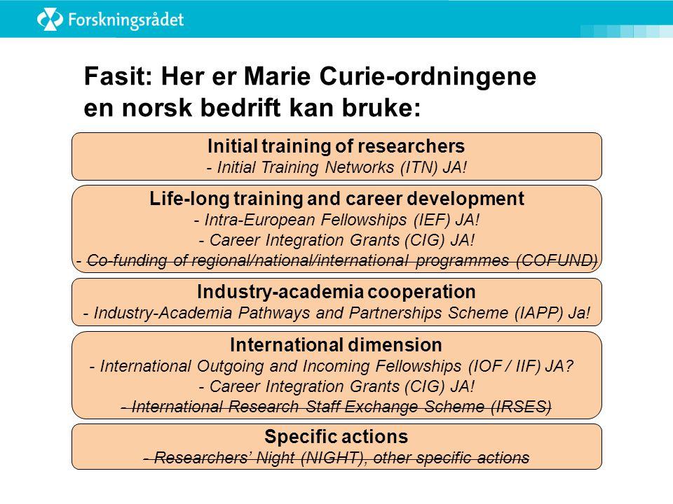 Fasit: Her er Marie Curie-ordningene en norsk bedrift kan bruke: Initial training of researchers - Initial Training Networks (ITN) JA.
