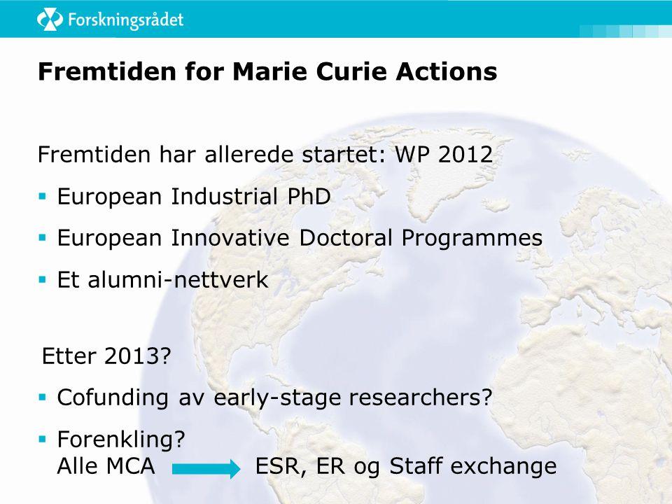 Fremtiden har allerede startet: WP 2012  European Industrial PhD  European Innovative Doctoral Programmes  Et alumni-nettverk Etter 2013.