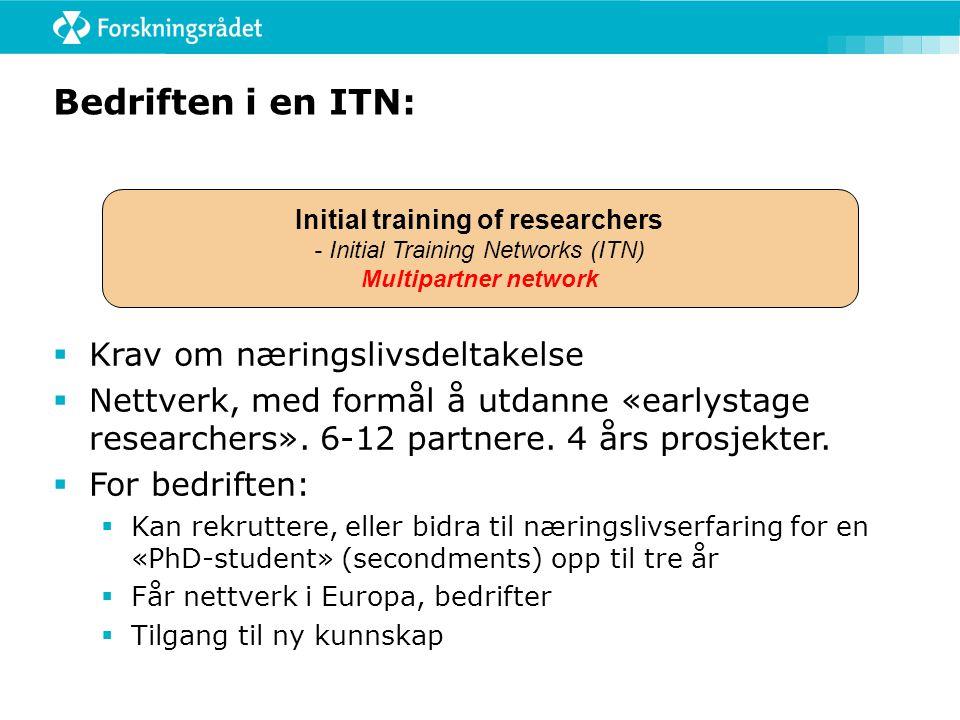Bedriften i en ITN:  Krav om næringslivsdeltakelse  Nettverk, med formål å utdanne «earlystage researchers».