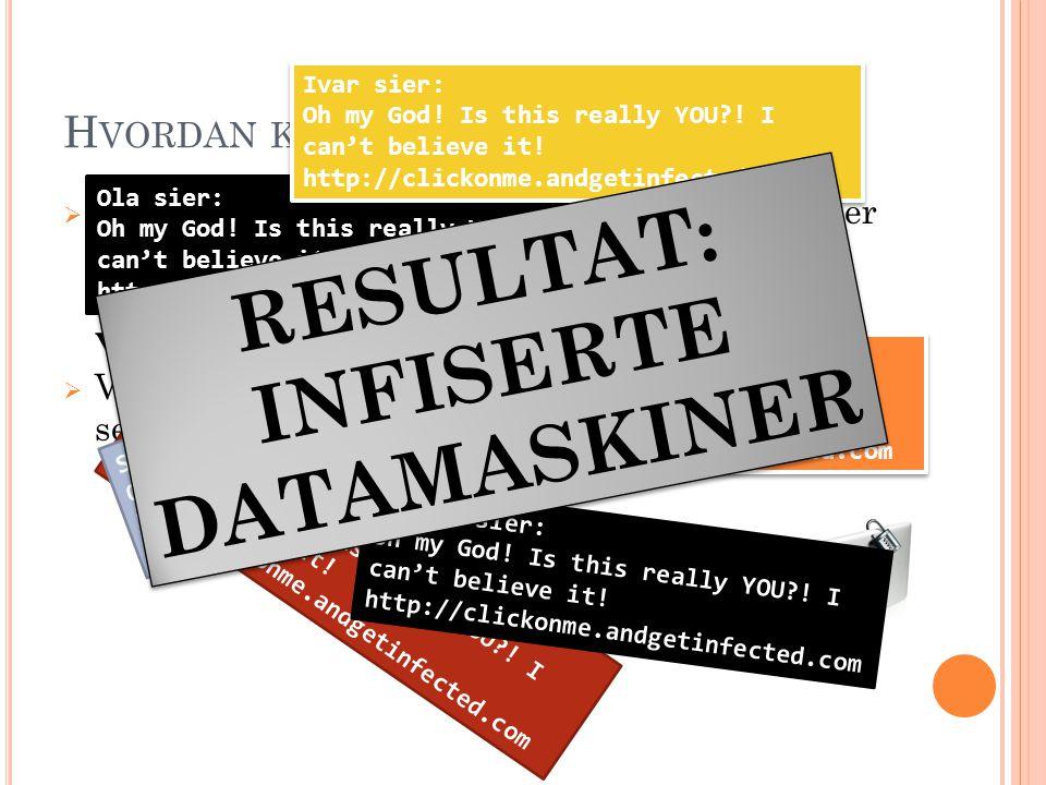 H VORDAN KAN MAN FÅ VIRUS ?  En infisert datafil blir kopiert til en infisert eller uinfisert maskin, via nettsider, e-post eller chatteprogrammer. D