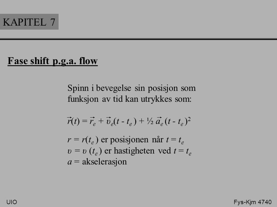 KAPITEL 7 Fase shift p.g.a. flow Spinn i bevegelse sin posisjon som funksjon av tid kan utrykkes som: r(t) = r e + υ e (t - t e ) + ½ a e (t - t e ) 2