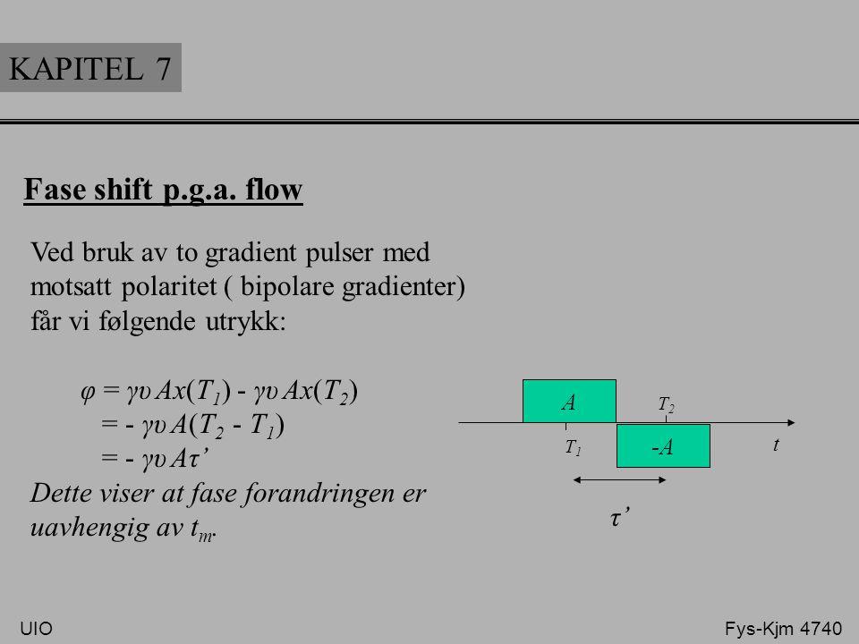 t A T1 T1 KAPITEL 7 Fase shift p.g.a. flow Ved bruk av to gradient pulser med motsatt polaritet ( bipolare gradienter) får vi følgende utrykk: φ = γυ