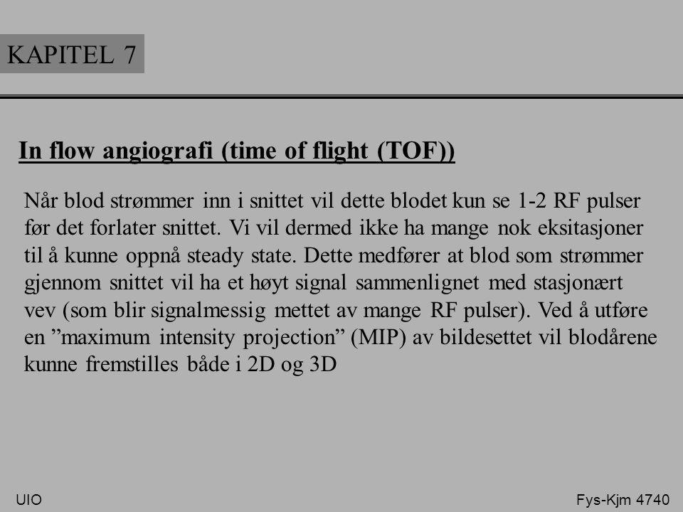 KAPITEL 7 In flow angiografi (time of flight (TOF)) Når blod strømmer inn i snittet vil dette blodet kun se 1-2 RF pulser før det forlater snittet. Vi