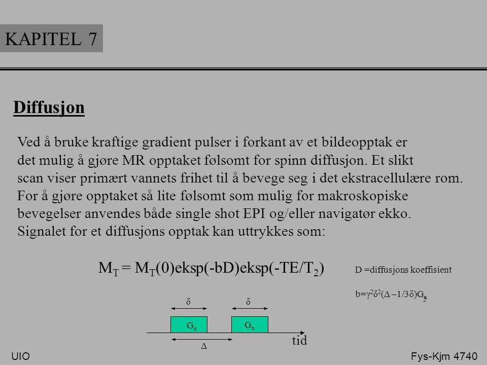 KAPITEL 7 Diffusjon Ved å bruke kraftige gradient pulser i forkant av et bildeopptak er det mulig å gjøre MR opptaket følsomt for spinn diffusjon. Et