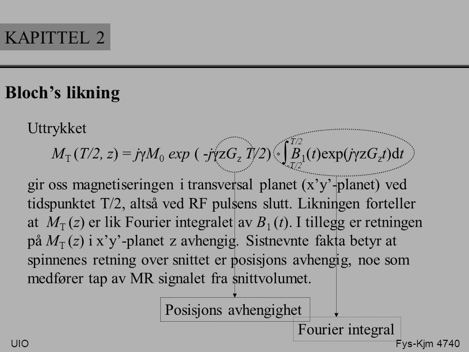 Uttrykket gir oss magnetiseringen i transversal planet (x'y'-planet) ved tidspunktet T/2, altså ved RF pulsens slutt. Likningen forteller at M T (z) e