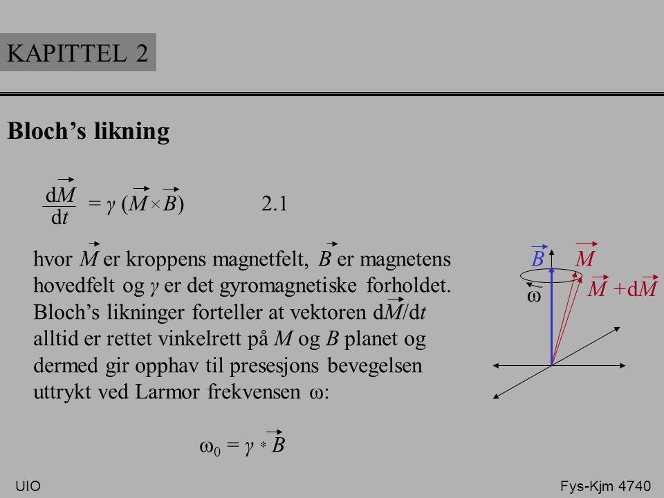 KAPITTEL 2 Bloch's likning Presesjon: Ved hjelp av kompleks notasjon, M T (t) = M x' + j M y' (j = -1) og integrasjon av Blochs likning får vi uttrykket: √ M z (t) = {M z (0) – M 0 } exp ( ) -t-t T1T1 I tillegg får vi også uttrykket for den longitunale magnetiseringen: M T (t) = M T (0) exp -jγr * ∫ G(t)dt exp ( ) -t-t T2T2 UIO Fys-Kjm 4740 Presesjon i xý´-planet Relaksasjon