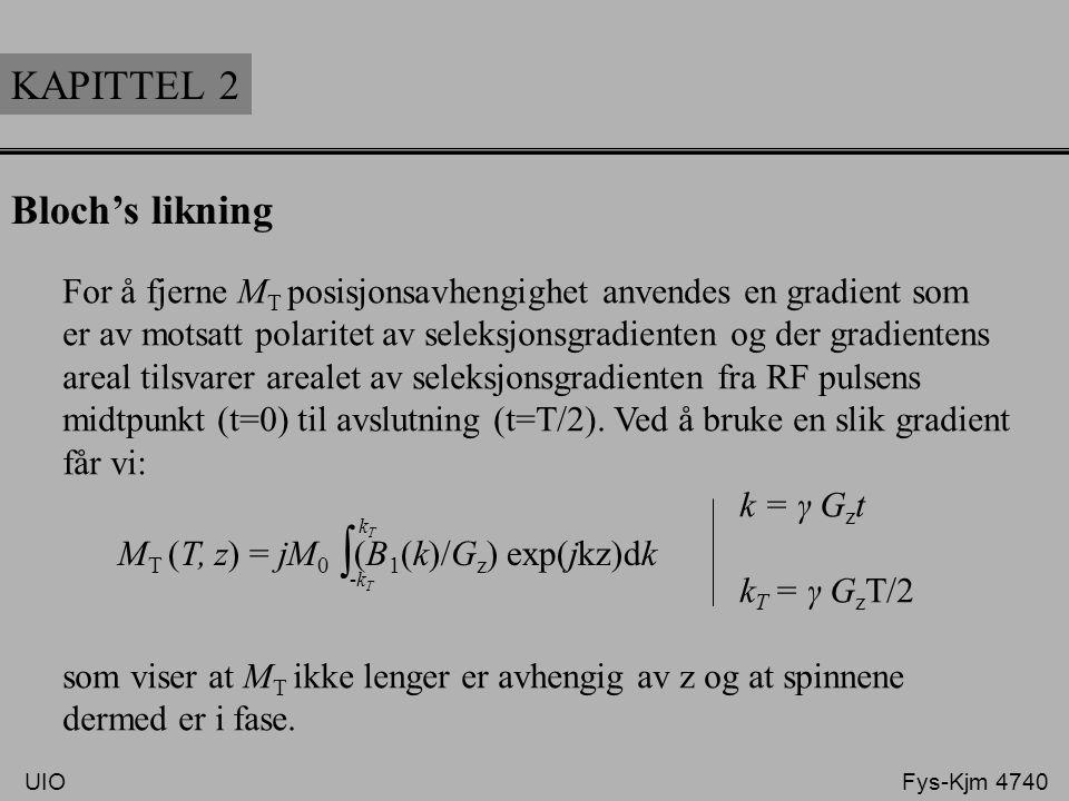 KAPITTEL 2 Bloch's likning For å fjerne M T posisjonsavhengighet anvendes en gradient som er av motsatt polaritet av seleksjonsgradienten og der gradi