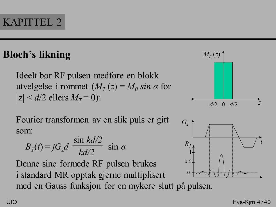KAPITTEL 2 Bloch's likning Ideelt bør RF pulsen medføre en blokk utvelgelse i rommet (M T (z) = M 0 sin α for z < d/2 ellers M T = 0): Fourier transfo