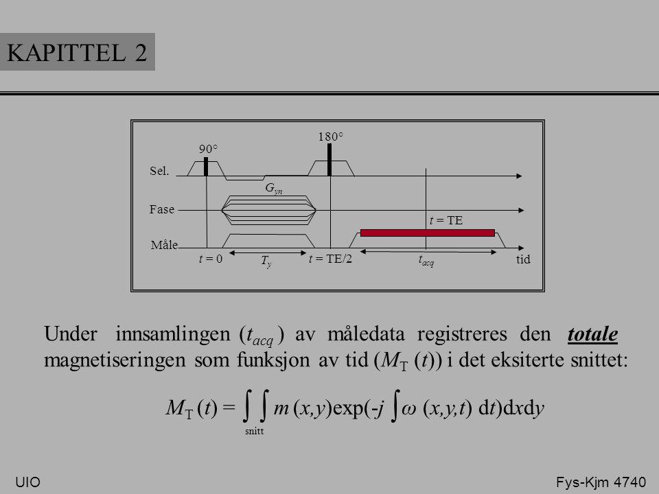 KAPITTEL 2 Sel. Fase Måle 90° 180° t = TE t = TE/2t = 0 TyTy t acq G yn Under innsamlingen (t acq ) av måledata registreres den totale magnetiseringen