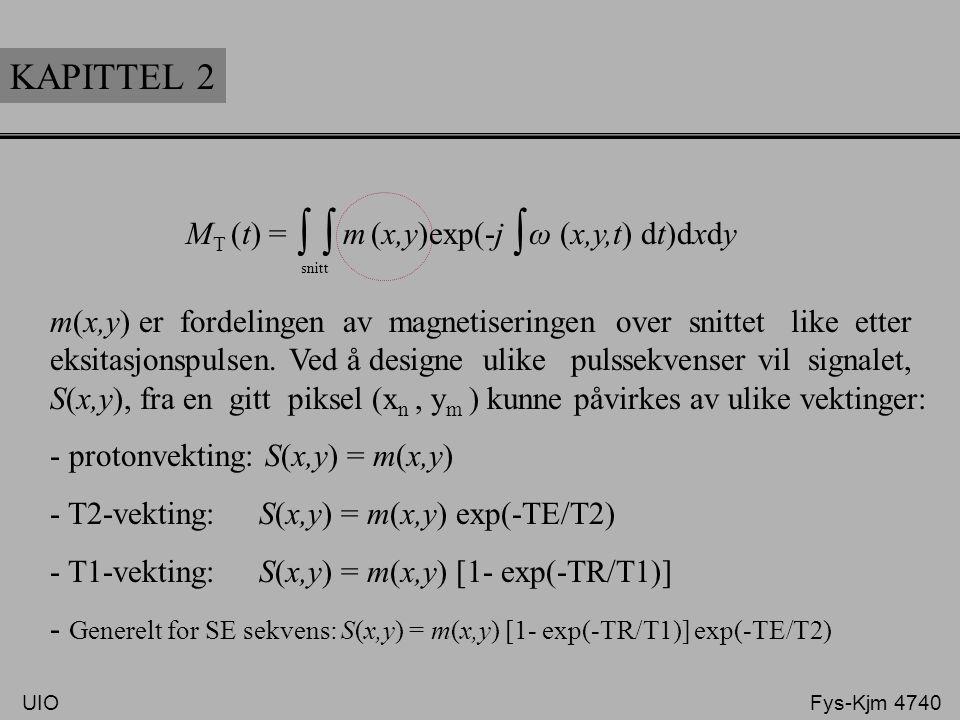 KAPITTEL 2 M T (t) = m (x,y)exp(-j ω (x,y,t) dt)dxdy ∫ snitt ∫ m(x,y) er fordelingen av magnetiseringen over snittet like etter eksitasjonspulsen. Ved
